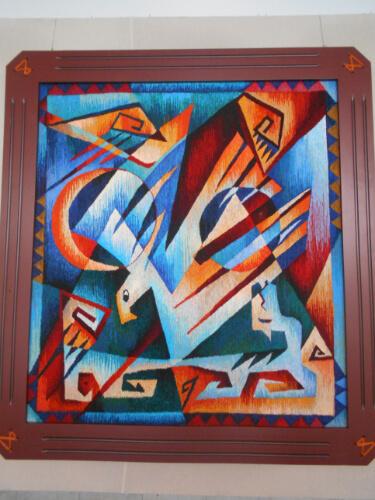 Έργο του Kuttybek Zakhypov από την έκθεση «Μελωδία από τη Μεγάλη Στέπα», με τεχνική φελτ <small>/ φωτ. <a href='https://www.hartismag.gr/gewrgia-aoanasopoyloy' class='color-link'>Γεωργία Αθανασοπούλου <i class='fal fa-link'></i></small></a>